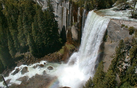 view over waterfall in Yosemite National Park